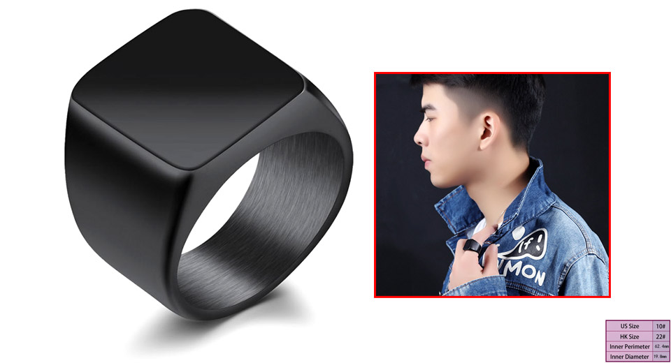 Men's 19mm Square Polished Stainless Steel Finger Ring (Size 10) Black, Size 10