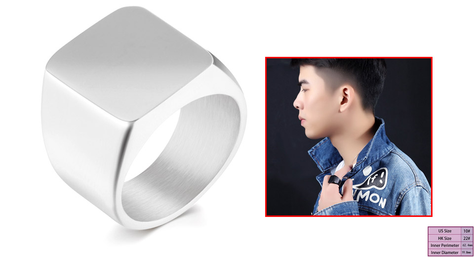 Men's 19mm Square Polished Stainless Steel Finger Ring (Size 10) Silver, Size 10