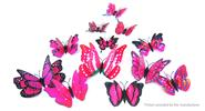Buy 3D Double-layer Butterfly Styled Wall Sticker Home Decor (12 Pieces) 2-layer Styled, 12 Pieces, Purple Red