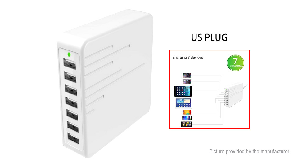 7-Port USB Wall Charger AC Power Adapter (US)