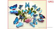 Buy 3D Double-layer Butterfly Styled Wall Sticker Home Decor (12 Pieces) 2-layer (B), 12 Pieces, Blue