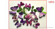 Buy 3D Double-layer Butterfly Styled Wall Sticker Home Decor (12 Pieces) 2-layer (B), 12 Pieces, Purple
