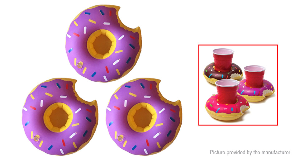 Doughnut Shaped Swimming Pool Inflatable Floating Beverage Cup Holder (3-Pack)