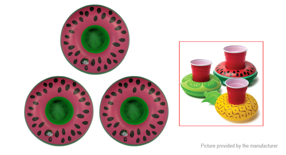 Watermelon Shaped Swimming Pool Inflatable Floating Beverage Cup Holder (3-Pack)