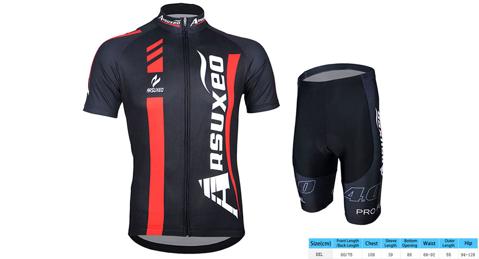 ARSUXEO Men's Outdoor Cycling Short Sleeve Jersey + Shorts Suit (Size 2XL)