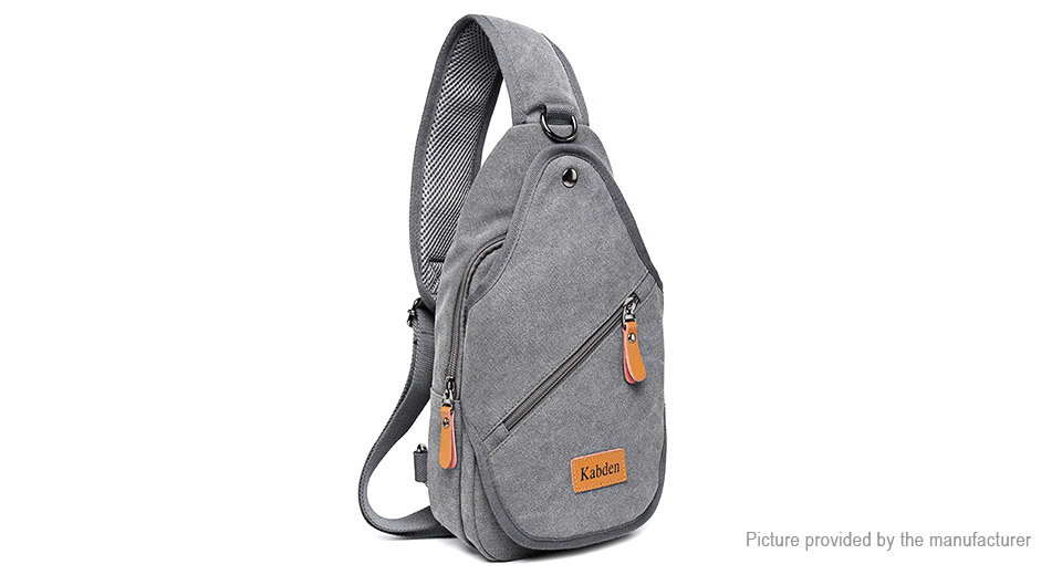 Kabden Men's Canvas Chest Bag Sling Bag Gray