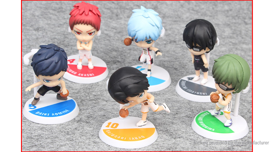 Kuroko Tetsuya Cartoon Basketball Comic Dolls Action Figure Toy Set (6-Piece Set)