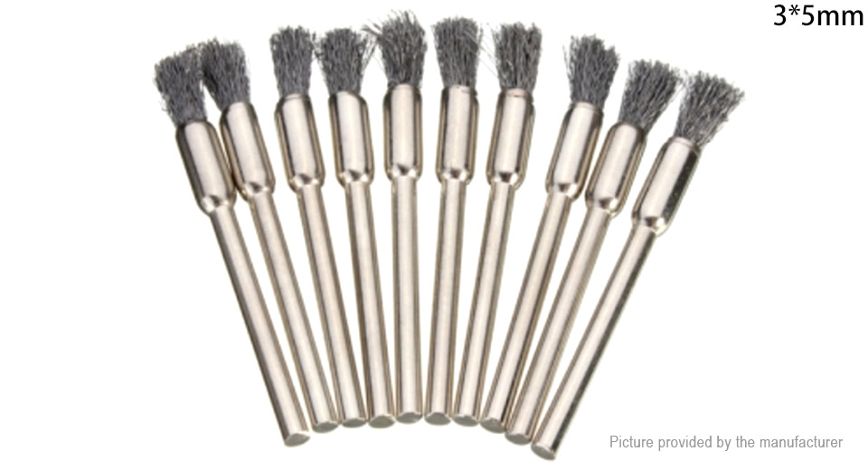 3mm Rotary Steel Wire Wheel Brush Cup Tool Shank for Dremel Drills (10-Pack)