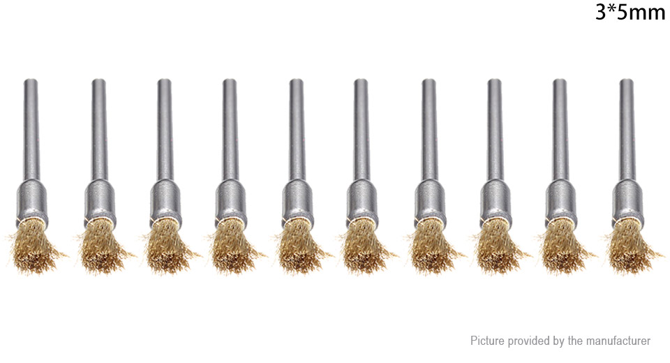 3mm Brass Wire Wheel Brush Cup Tool Shank for Dremel Drills (10-Pack)
