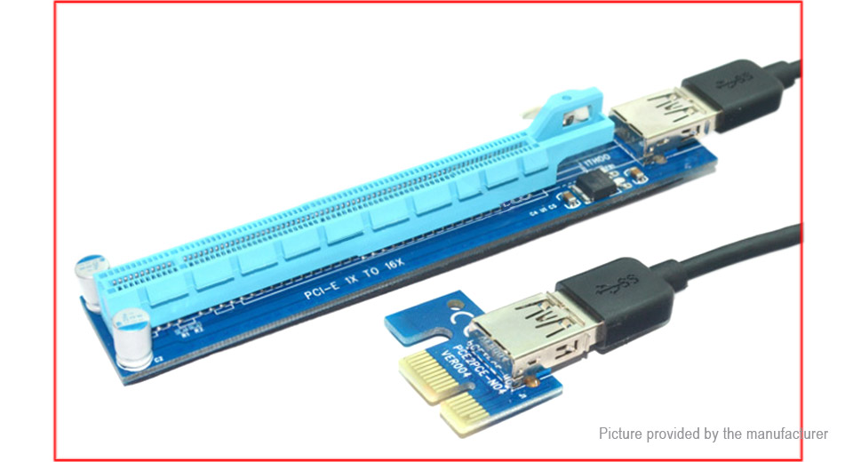 PCIe 1X to PCIe 16X Extender Riser Card Adapter