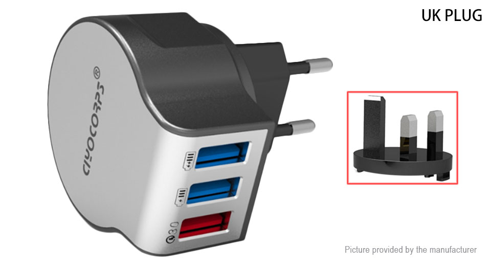 CIYOCORPS ES-D22 Quick Charge 3-Port USB Wall Charger (UK)