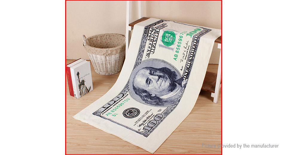 Image of 100 Dollars Pattern Cotton Breathable Beach Bath Towel