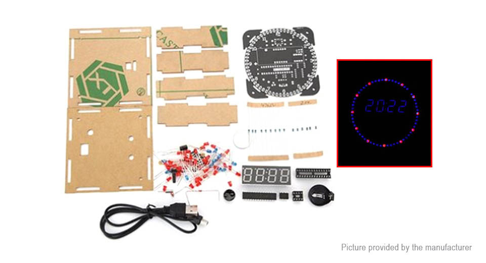 DIY Light Control Rotation LED Electronic Clock Kit