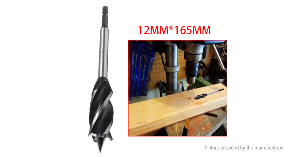 """1/4"""" Hex Shank Four Slot Twisted Auger Drill Bit, 12mm 12mm"""