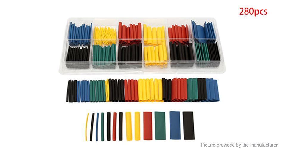 Heat Shrink Tubing Wire Cable Sleeving Wrap Tube Kit (280 Pieces)
