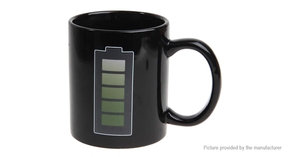 Battery Level Color Changing Heat Sensitive Coffee Mug Cup (201-300ml)