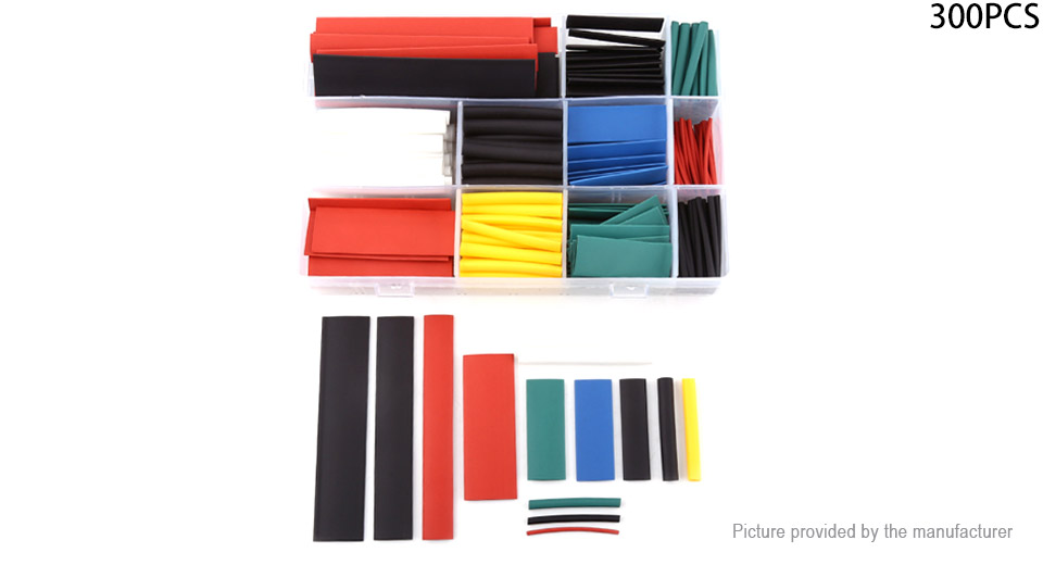 Heat Shrink Tubing Wire Cable Sleeving Wrap Tube Kit (300 Pieces)