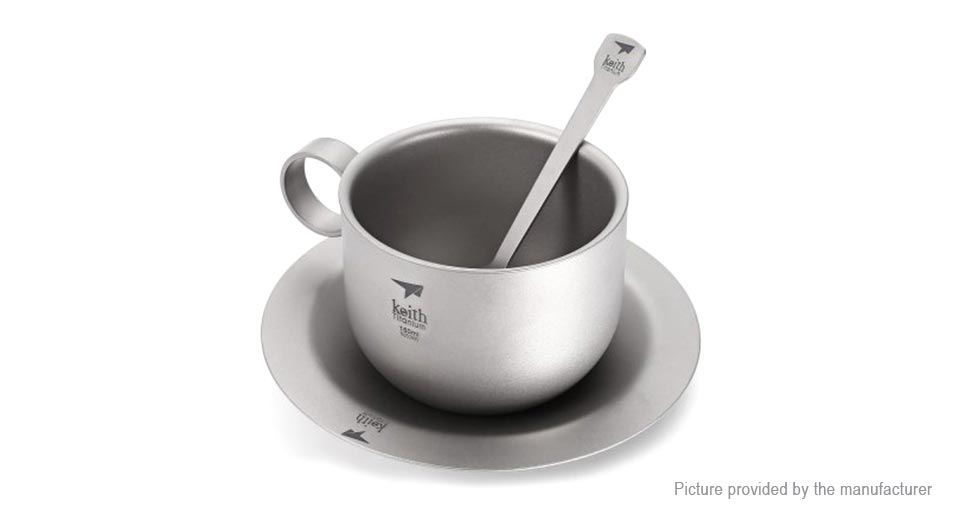 Keith Ti3601 Coffee Cup Saucer Spoon Set