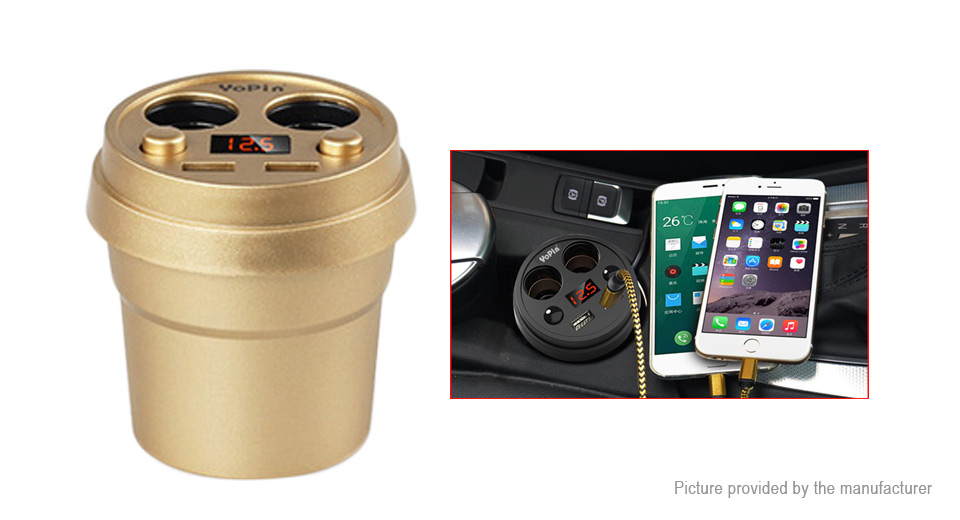 YoPin cc-031 Cup Styled Dual USB Car Cigarette Lighter Charger Power Adapter