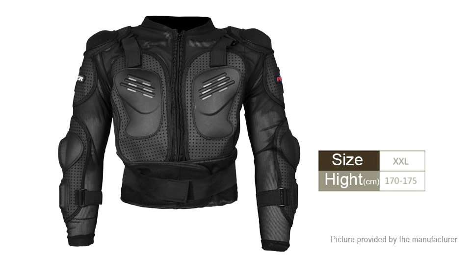 PRO-BIKER Motorcycle Full Body Armor Protective Jacket Guard Gear (Size 2XL)