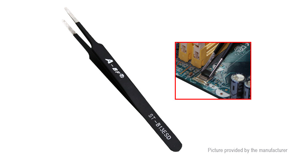 DIY Electronics 8153503 A-BF Anti-static Stainless Steel Straight Tweezers