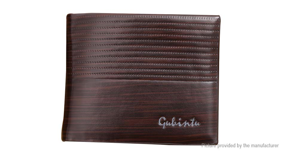 GUBINTU Men's PU Leather Coin Purse Short Wallet Card Holder, Dark Coffee