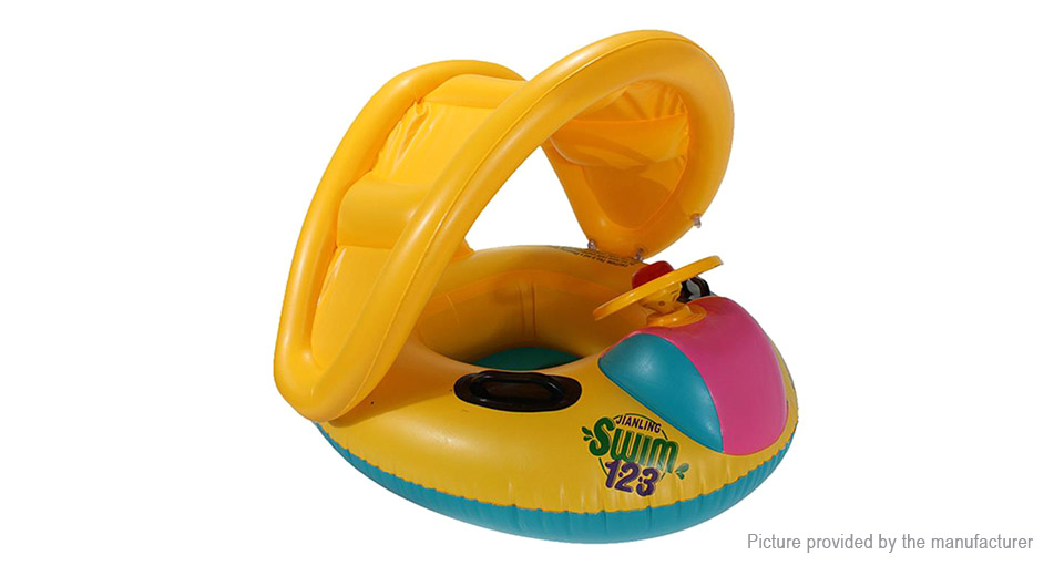 Kids Swim Pool Inflatable Boat Seats Adjustable Canopy Float Pool Ring