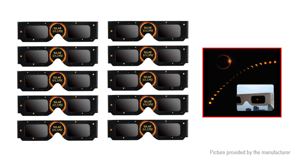Paper Frame Eye Protection Direct Safe Sun Viewing Solar Eclipse Glasses (10-Pack) F567, 10-Pack