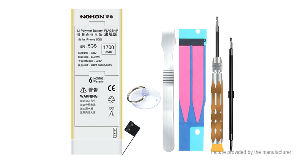 NOHON 3.8V 1700mAh Rechargeable Li-Polymer Battery for iPhone 5s/5c