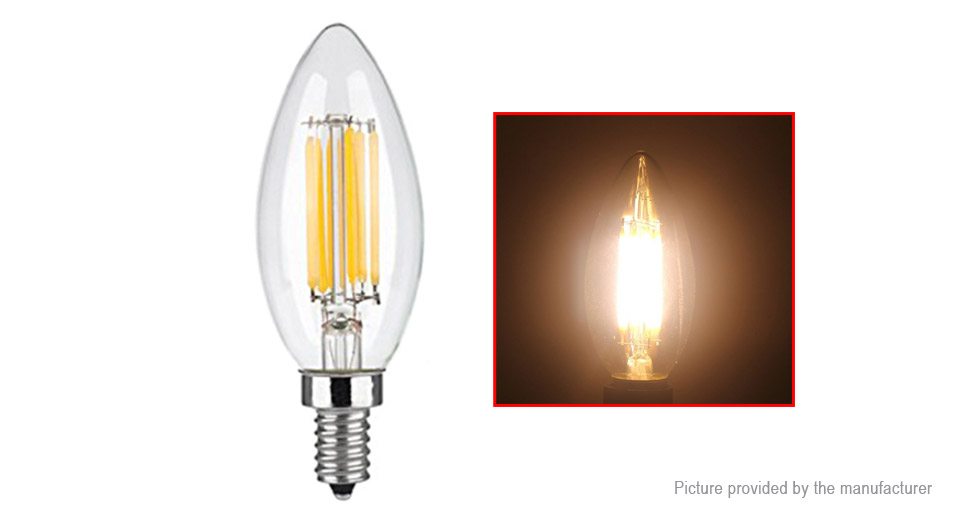 E12 6W 110LM Warm White Dimmable LED Filament Candle Light Bulb