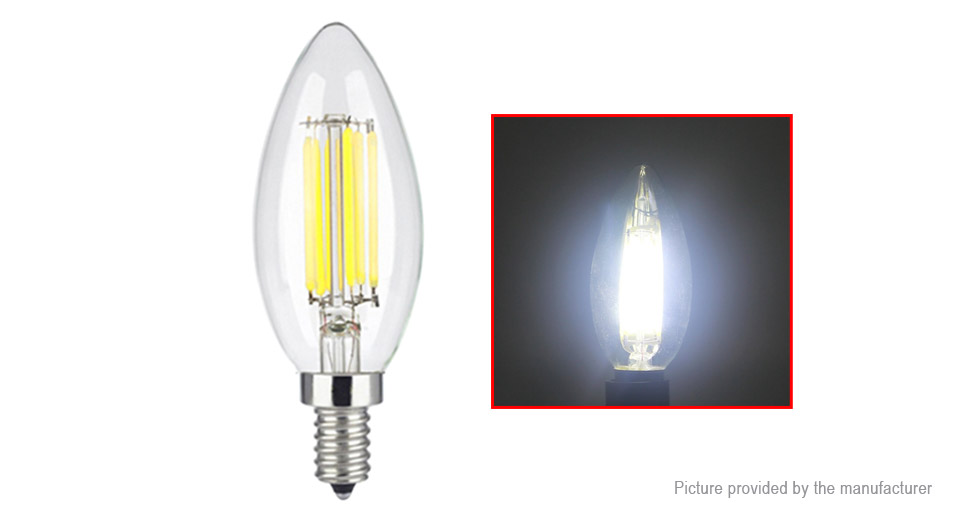 E12 6W 110LM Pure White Dimmable LED Filament Candle Light Bulb 6W, 110LM, 6000-6500K, Oval Shape, E12