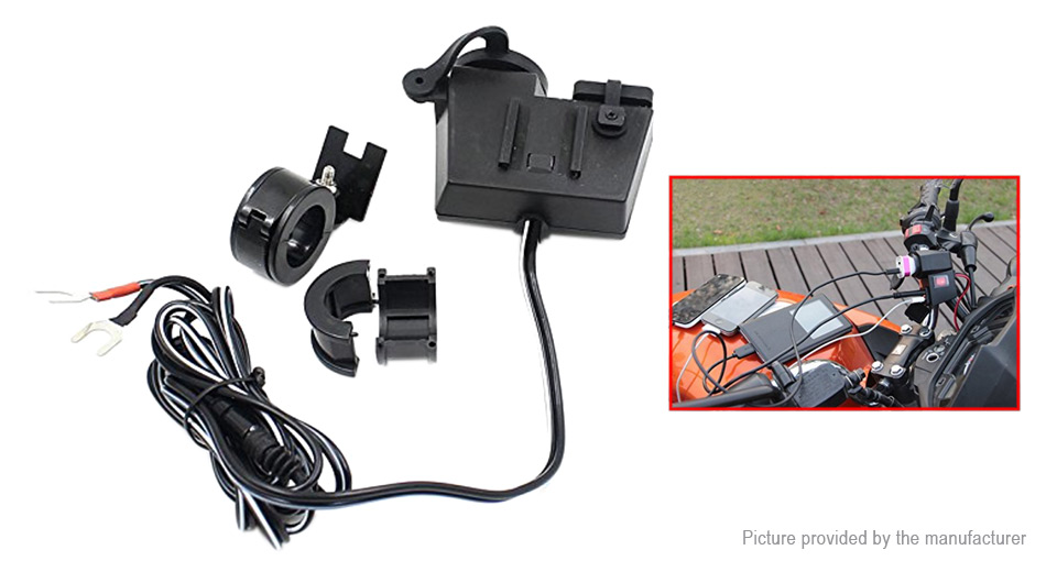 Motorcycle Handlebar Mount Dual USB Charger Power Adapter