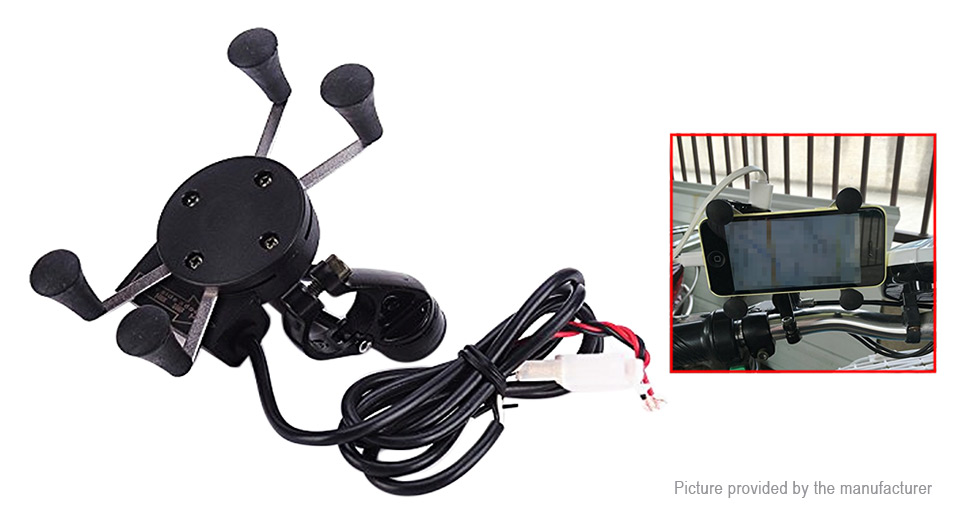2-in-1 Motorcycle Mount Cell Phone Stand Holder USB Charger