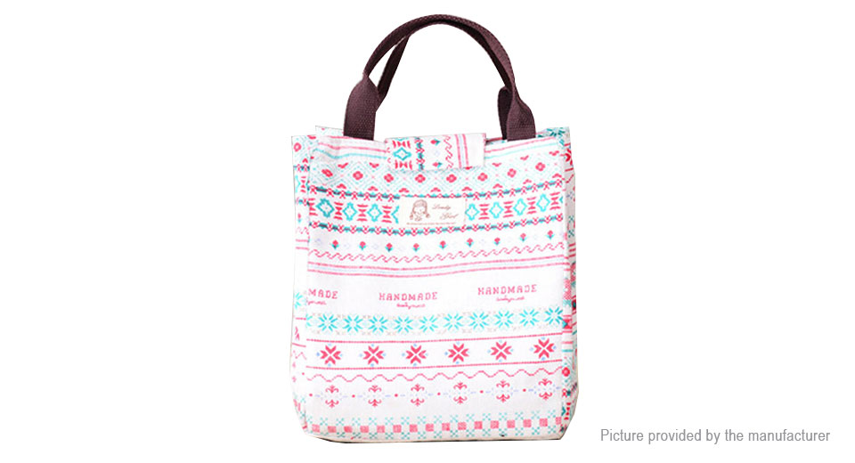 Handheld Lunch Tote Bag Travel Picnic Cooler Insulated Handbag Storage Container