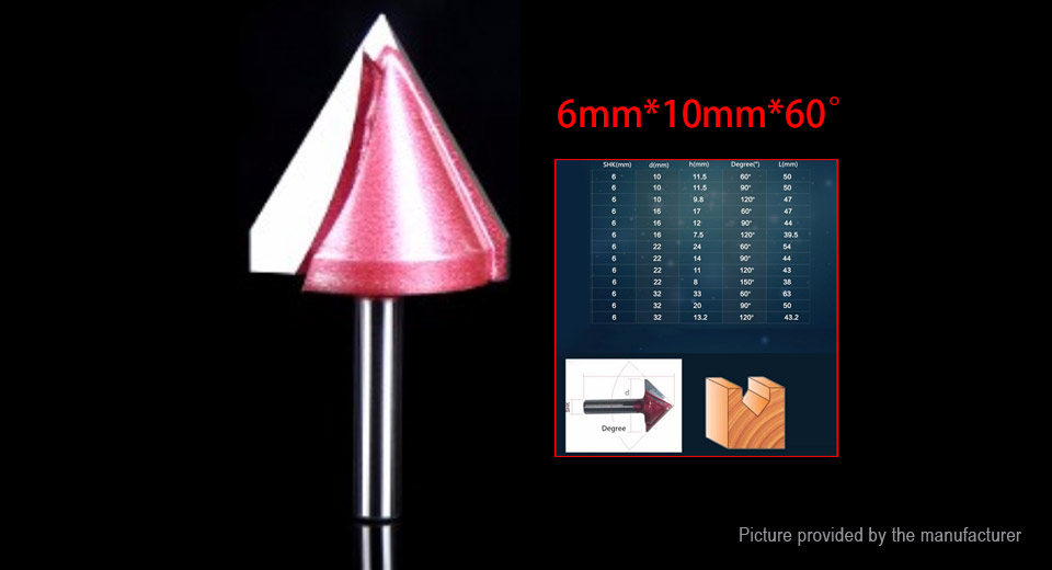 DIY Electronics 8545100 60 Degree V-Groove 3D CNC Router Bit Woodworking Engraving Tool
