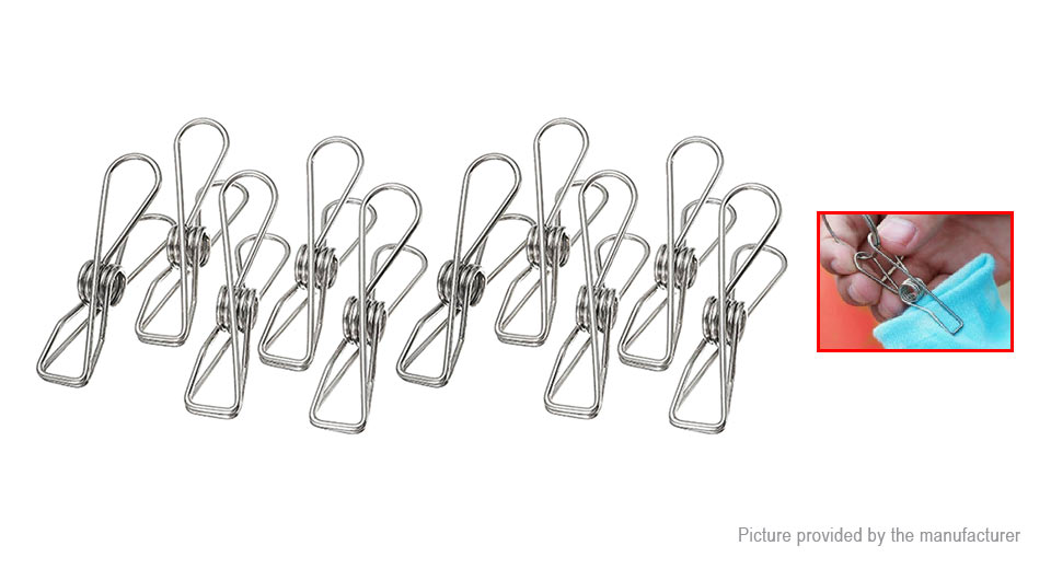 Stainless Steel Clothes Pegs Laundry Hangers (10-Pack)