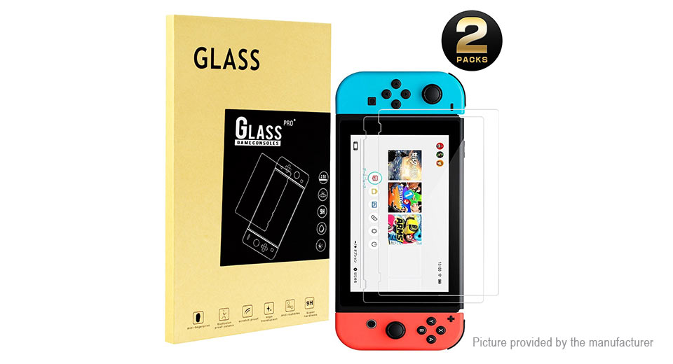 Image of 2.5D Tempered Glass Screen Protector for Nintendo Switch Game Console (2-Pack)