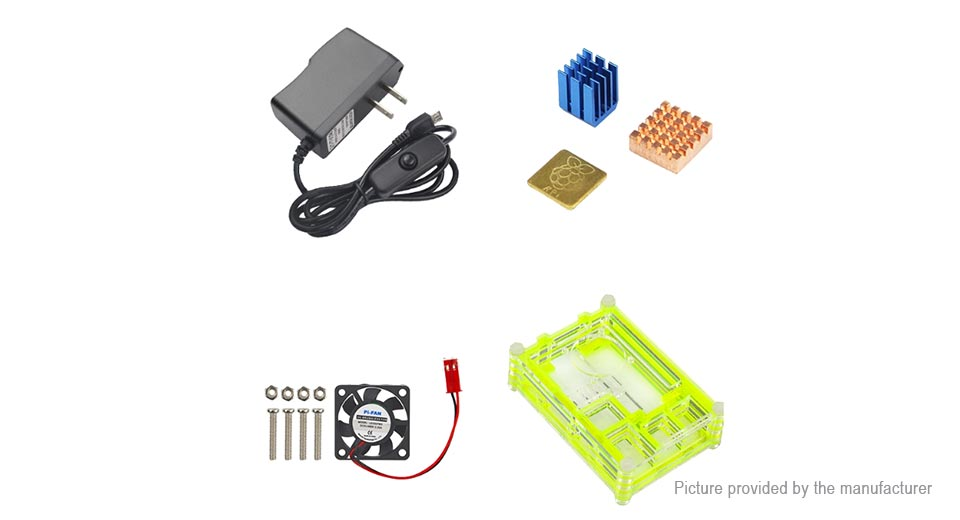 DIY Electronics 8738302 Protective Case + Power Supply + Cooling Fan for Raspberry Pi 3 Model B