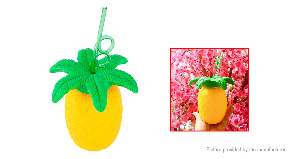 Pineapple Shaped Mug Cup w/ Straw (700ml)