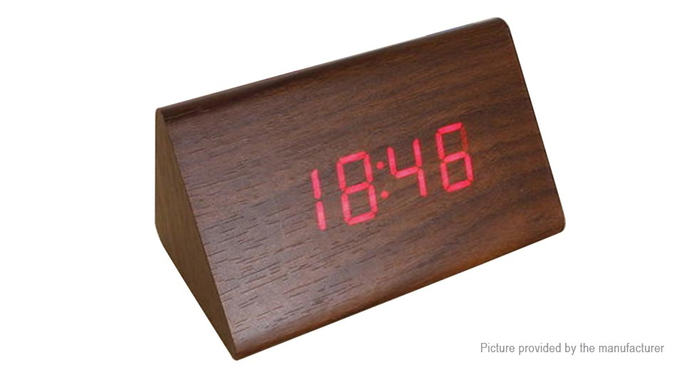 Wooden Triangle Red LED Digital Alarm Clock