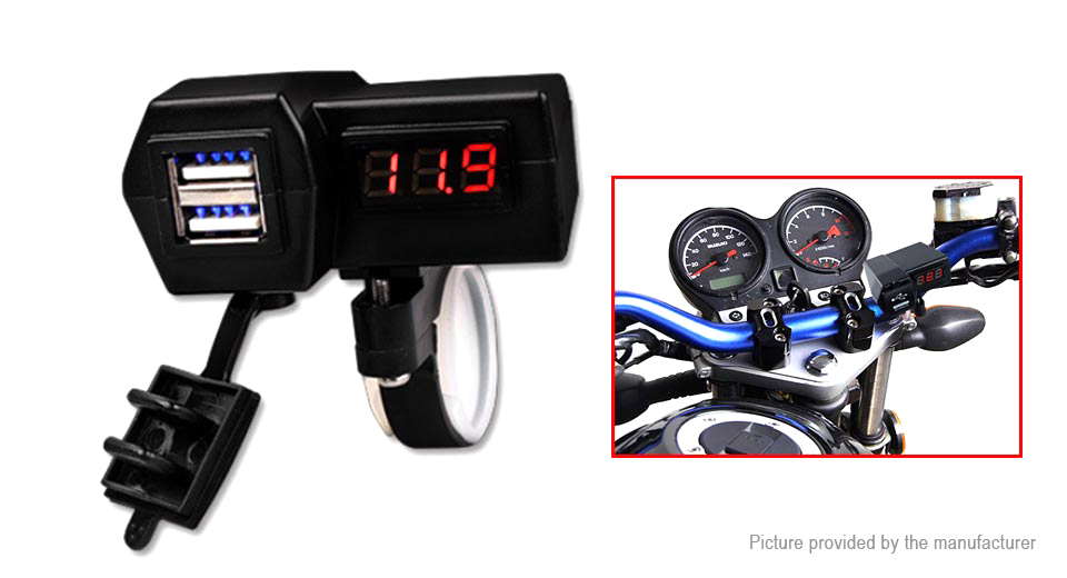 3-in-1 Motorcycle Dual USB Charger Power Adapter Volmeter