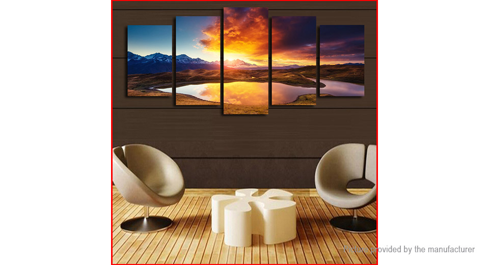 No Frame Modern Sunset Landscape Canvas Oil Painting Wall Decor (5 Pieces), Style I1, 5 Pieces