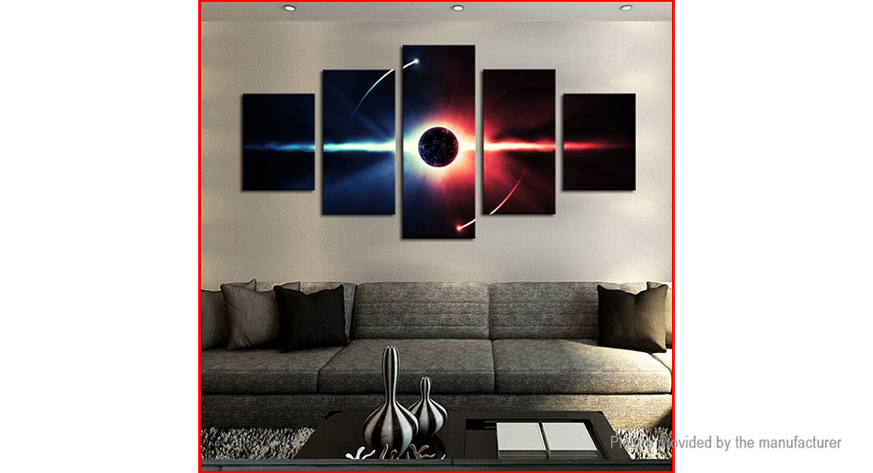 No Frame Modern Planet Canvas Oil Painting Wall Decor (5 Pieces) Style J1, 5 Pieces