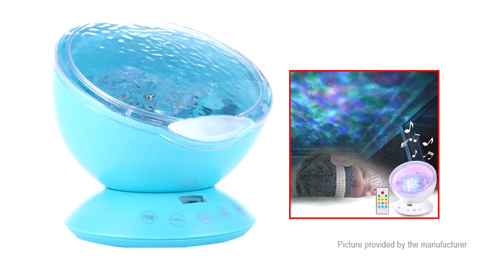 Ocean Waves USB Powered LED Projector Night Lamp + Music Speaker