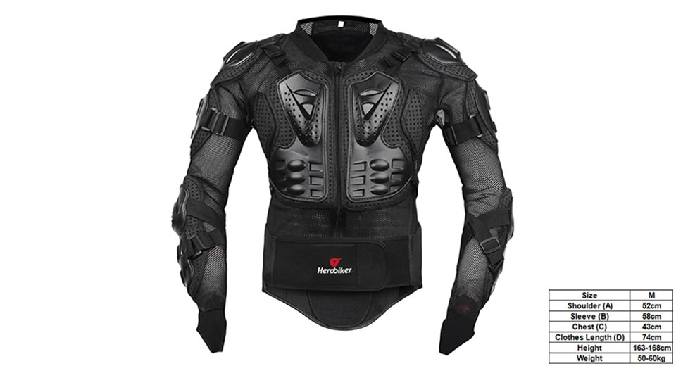 HEROBIKER Motorcycle Full Body Armor Protective Jacket Guard (Size M)