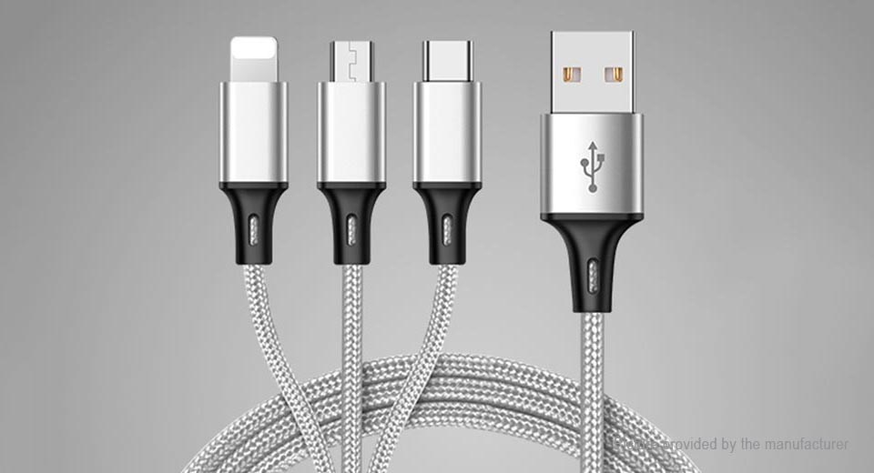 3-in-1 Micro-USB/Type C/8-pin USB 2.0 Braided Data Sync / Charging Cable (1.2m) 1.2m, Silver