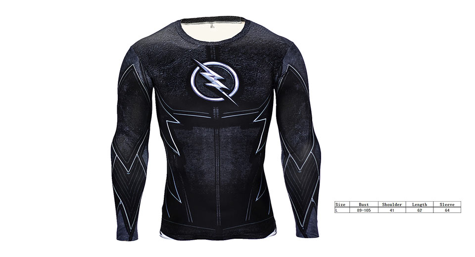 Image of 3D The Flash Print Men's Sports Quick-dry Long Sleeve Compression T-shirt (Size L)