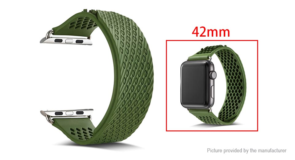 Replacement Silicone Watchband Strap for Apple Watch 42mm Army Green, 42mm
