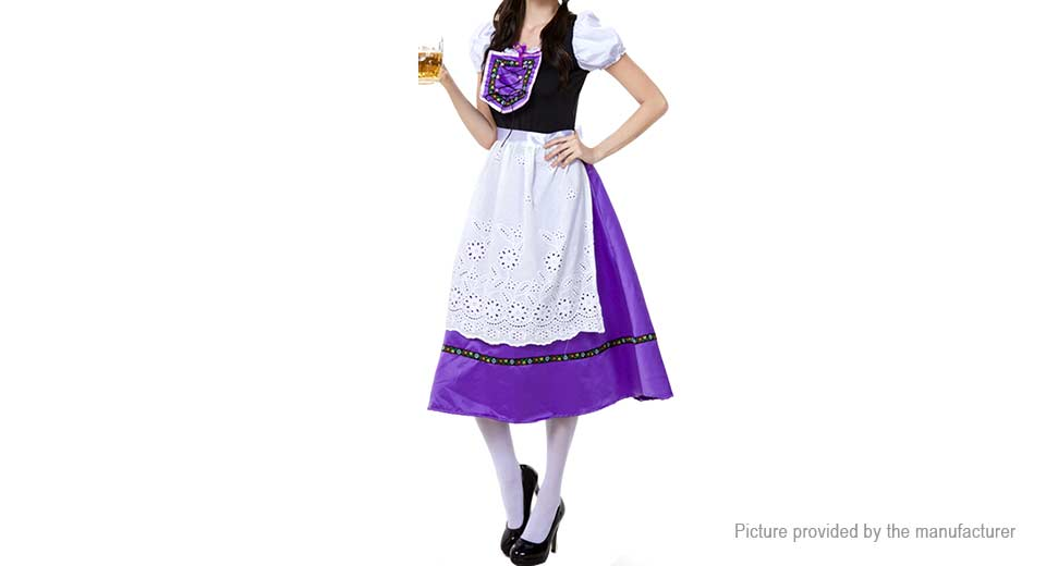 Cute Lace Traditional Long Dress Maid Cosplay Set (Size M), Purple, Size M