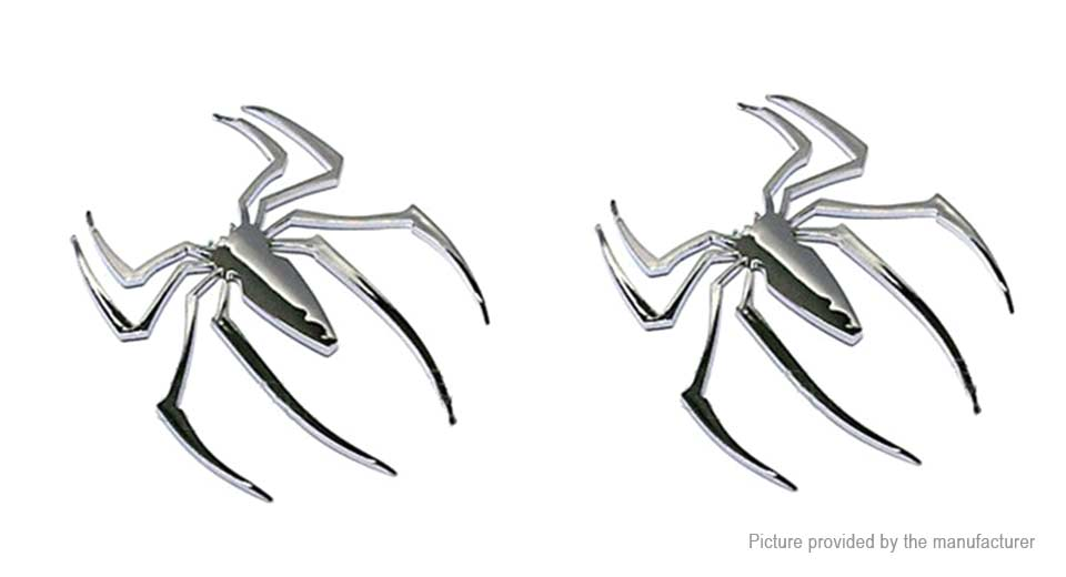 Metal Spider Styled Auto Car Emblem Decal Sticker (2-Pack)